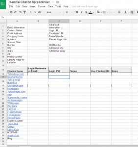 Sample citation spreadsheet