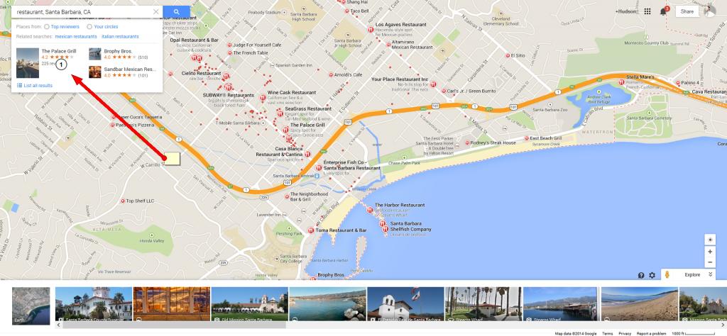 Geo-tagged restaurants in Santa Barbara